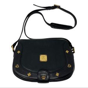 MCM Black Pebbled Leather Studded Vintage Bag